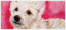 ペットと飼い主さんの油絵、動物油彩画